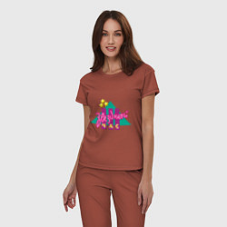 Пижама хлопковая женская Звездный час цвета кирпичный — фото 2