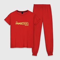Пижама хлопковая женская FakeTaxi цвета красный — фото 1