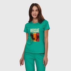 Пижама хлопковая женская Reggae цвета зеленый — фото 2