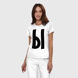 Женская хлопковая пижама с принтом Мы (Ы), цвет: белый, артикул: 10014746905929 — фото 2