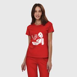 Пижама хлопковая женская Korn Toy цвета красный — фото 2