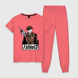 Пижама хлопковая женская Fallout Man with gun цвета коралловый — фото 1