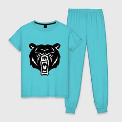 Пижама хлопковая женская Ярость медведя цвета бирюзовый — фото 1