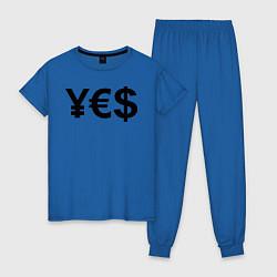 Пижама хлопковая женская YE$ цвета синий — фото 1
