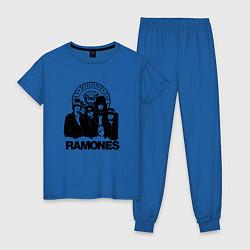 Пижама хлопковая женская Ramones Boys цвета синий — фото 1
