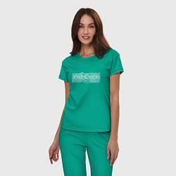 Пижама хлопковая женская Joy Division цвета зеленый — фото 2