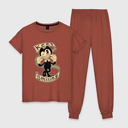 Пижама хлопковая женская Bendy: Keep Smiling цвета кирпичный — фото 1
