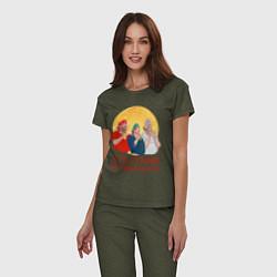 Пижама хлопковая женская Эту страну не победить! цвета меланж-хаки — фото 2