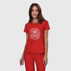 Пижама хлопковая женская Shadowhunters Runes цвета красный — фото 2