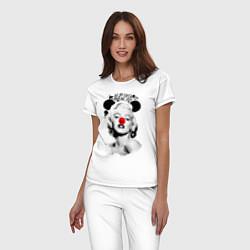 Пижама хлопковая женская Мэрилин Монро клоун цвета белый — фото 2
