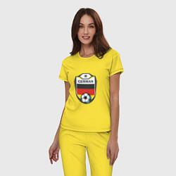 Пижама хлопковая женская German Soccer цвета желтый — фото 2