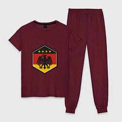 Пижама хлопковая женская Немецкий фанат цвета меланж-бордовый — фото 1