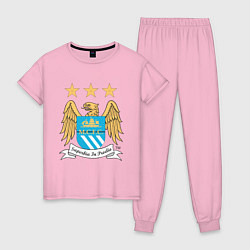Пижама хлопковая женская Manchester City FC цвета светло-розовый — фото 1