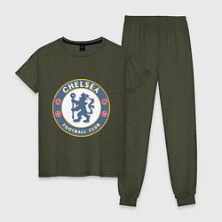 Пижама хлопковая женская Chelsea FC цвета меланж-хаки — фото 1