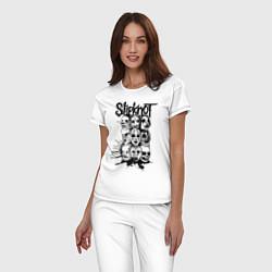 Пижама хлопковая женская Slipknot Faces цвета белый — фото 2
