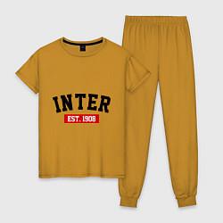 Пижама хлопковая женская FC Inter Est. 1908 цвета горчичный — фото 1