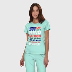 Пижама хлопковая женская The Beatles Revolution цвета мятный — фото 2
