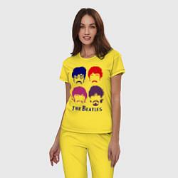 Пижама хлопковая женская The Beatles faces цвета желтый — фото 2