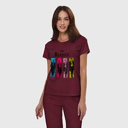 Пижама хлопковая женская Walking Beatles цвета меланж-бордовый — фото 2