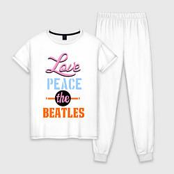 Пижама хлопковая женская Love peace the Beatles цвета белый — фото 1