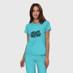 Пижама хлопковая женская GLHF цвета бирюзовый — фото 2