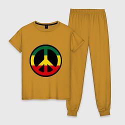 Пижама хлопковая женская Peace Symbol цвета горчичный — фото 1
