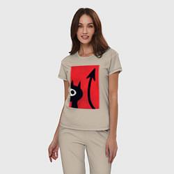 Пижама хлопковая женская Дьявольская Люси цвета миндальный — фото 2