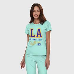 Пижама хлопковая женская Lebron 23: Los Angeles цвета мятный — фото 2