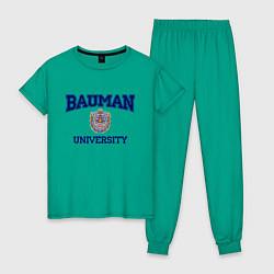Пижама хлопковая женская BAUMAN University цвета зеленый — фото 1