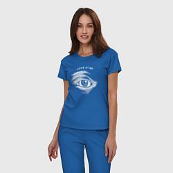 Пижама хлопковая женская Смотри на меня цвета синий — фото 2