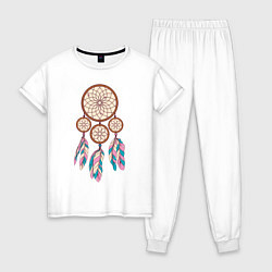 Пижама хлопковая женская Ловец снов цвета белый — фото 1