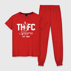 Пижама хлопковая женская THFC Est 1882 цвета красный — фото 1