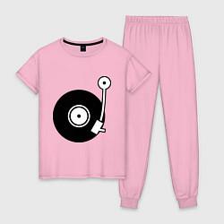 Пижама хлопковая женская Vinyl Mix цвета светло-розовый — фото 1