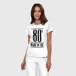 Пижама хлопковая женская Made in the 80s цвета белый — фото 2