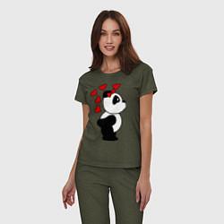 Пижама хлопковая женская Поцелуй панды: для нее цвета меланж-хаки — фото 2