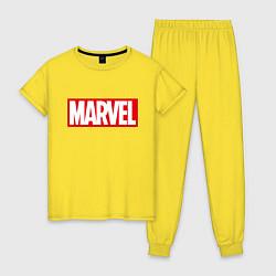 Пижама хлопковая женская MARVEL цвета желтый — фото 1