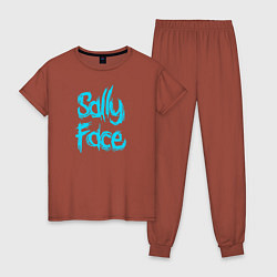 Пижама хлопковая женская SALLY FACE цвета кирпичный — фото 1