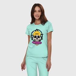 Пижама хлопковая женская Skate or Die цвета мятный — фото 2