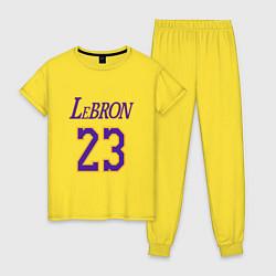 Пижама хлопковая женская LeBron 23 цвета желтый — фото 1