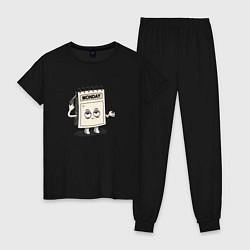 Пижама хлопковая женская Monday цвета черный — фото 1