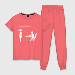 Пижама хлопковая женская Pornhub цвета коралловый — фото 1