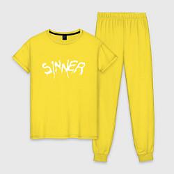 Пижама хлопковая женская SINNER цвета желтый — фото 1