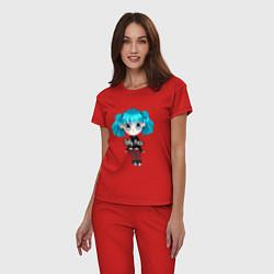 Пижама хлопковая женская Sally Face: Kid Girl цвета красный — фото 2