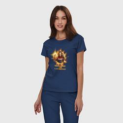 Пижама хлопковая женская Capt Marvel: Become a Legend цвета тёмно-синий — фото 2