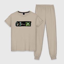 Пижама хлопковая женская Ярость Халка цвета миндальный — фото 1