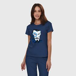 Пижама хлопковая женская Взгляд Тони Старка цвета тёмно-синий — фото 2