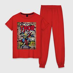 Пижама хлопковая женская Thor цвета красный — фото 1