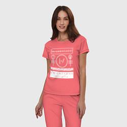 Пижама хлопковая женская 21 Pilots: Blurryface цвета коралловый — фото 2