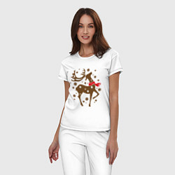 Пижама хлопковая женская Олень с шарфом цвета белый — фото 2