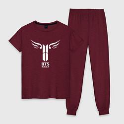 Пижама хлопковая женская BTS ARMY цвета меланж-бордовый — фото 1